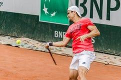 Πρακτική του Δαβίδ Ferrer, Roland Garros 2014 Στοκ Φωτογραφίες