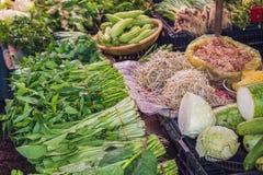 Πρασινάδα στη βιετναμέζικη αγορά Ασιατική έννοια κουζίνας Στοκ εικόνα με δικαίωμα ελεύθερης χρήσης