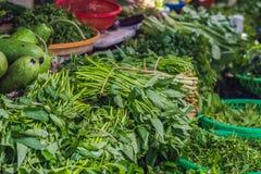 Πρασινάδα στη βιετναμέζικη αγορά Ασιατική έννοια κουζίνας Στοκ Εικόνες