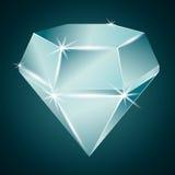 Πρασινωπό λαμπρό διαμάντι διανυσματική απεικόνιση