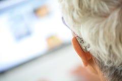 Πρεσβύτερος που φορά την ενίσχυση ακρόασης στα αυτιά της στο μέτωπο ένα lap-top στοκ εικόνες