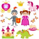 Πριγκήπισσα, ιππότης, κάστρο, μεταφορά, μονόκερος, κορώνα, δράκος, γάτα και πεταλούδα παραμυθιού ελεύθερη απεικόνιση δικαιώματος