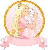 Πριγκήπισσα και γάτα ελεύθερη απεικόνιση δικαιώματος