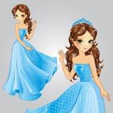 Πριγκήπισσα με την κορώνα στο μπλε φόρεμα διανυσματική απεικόνιση
