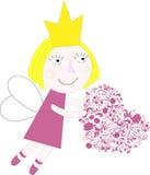 Πριγκήπισσα με τη διανυσματική διανυσματική απεικόνιση καρδιών Στοκ Εικόνα