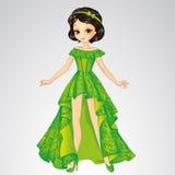 Πριγκήπισσα ομορφιάς στο πράσινο φόρεμα διανυσματική απεικόνιση