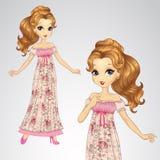 Πριγκήπισσα ομορφιάς στο ρομαντικό φόρεμα διανυσματική απεικόνιση