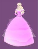 Πριγκήπισσα ο ξανθός σε ένα ρόδινο φόρεμα απεικόνιση αποθεμάτων