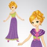 Πριγκήπισσα στο ρομαντικό πορφυρό φόρεμα απεικόνιση αποθεμάτων