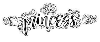 Πριγκήπισσα Συρμένο χέρι δημιουργικό σύγχρονο μαύρος-ν-λευκό καλλιγραφίας διανυσματική απεικόνιση