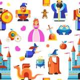 Πριγκήπισσα Disneyland και μάγοι, άνευ ραφής διάνυσμα σχεδίων κάστρων ελεύθερη απεικόνιση δικαιώματος