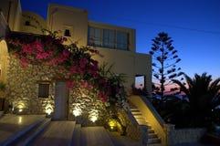 Πριν από την αυγή σε Kamari, Santorini Στοκ Εικόνες