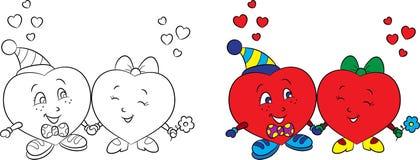 Πριν και μετά από γραπτό και έγχρωμη εικονογράφηση ενός ζεύγους καρδιών, για το βιβλίο καρτών ημέρας του βαλεντίνου ή χρωματισμού απεικόνιση αποθεμάτων