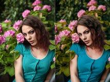 Πριν και μετά από την έννοια ομορφιάς Στοκ Φωτογραφίες