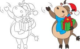 Πριν και μετά από την απεικόνιση μιας αγελάδας, που κυματίζει και που κρατά ένα δώρο Χριστουγέννων, στο χρώμα και γραπτός, για το διανυσματική απεικόνιση