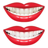 Πριν και μετά από τη λεύκανση των δοντιών Στόμα γυναικών που απομονώνεται σε ένα άσπρο υπόβαθρο Ελεύθερη απεικόνιση δικαιώματος