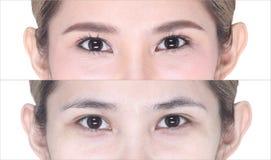 Πριν κατόπιν, αποτελέστε cosmetology στο μάτι, σκιά ματιών, eyebrowns Στοκ φωτογραφία με δικαίωμα ελεύθερης χρήσης