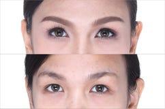 Πριν κατόπιν, αποτελέστε cosmetology στο μάτι, σκιά ματιών, eyebrowns Στοκ Φωτογραφίες
