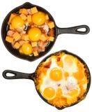 Πριν μετά από τα ψημένα αυγά και το λουκάνικο με το τυρί Στοκ φωτογραφία με δικαίωμα ελεύθερης χρήσης