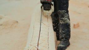 Πριονίζοντας κούτσουρα αλυσιδοπριόνων ξυλουργών λειτουργώντας για τα ξύλινα σπίτια Καναδική τεκτονική γωνίας Καναδικό ύφος φιλμ μικρού μήκους