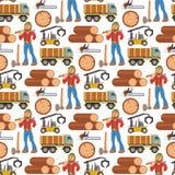 Πριονιστηρίων υλοτόμων χαρακτήρα αναγραφών εξοπλισμού ξυλείας μηχανών βιομηχανικό ξύλινο υπόβαθρο σχεδίων ξυλείας δασικό άνευ ραφ Στοκ Εικόνα