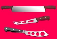 Πριόνι και μαχαίρια για το τυρί, διανυσματική απεικόνιση Στοκ φωτογραφία με δικαίωμα ελεύθερης χρήσης