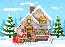 Προαστιακό καλυμμένο σπίτι χιόνι ελεύθερη απεικόνιση δικαιώματος