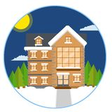 Προαστιακό σπίτι Επίπεδη απεικόνιση κινούμενων σχεδίων ελεύθερη απεικόνιση δικαιώματος