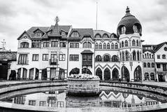 Προαύλιο της Ευρώπης σε Komarno, Σλοβακία, άχρωμη στοκ εικόνες