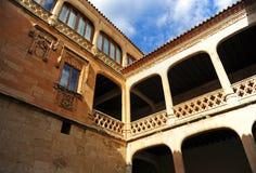 Προαύλιο των όπλων του θαυμάσιου Castle Buen Amor Topas, Σαλαμάνκα, Ισπανία Στοκ Εικόνες