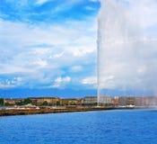 Προβολή ύδατος Δ ` EAU Ελβετία λιμνών της Γενεύης Geneve Στοκ εικόνες με δικαίωμα ελεύθερης χρήσης