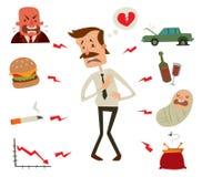 Προβλήματα καρδιών ατόμων Παράγοντες κινδύνου επιχειρηματιών Στοκ Εικόνες