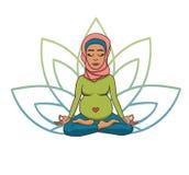 Προγενέθλια γιόγκα Διανυσματική απεικόνιση νέο χαριτωμένο μουσουλμανικό κοριτσιών στη θέση λωτού με τα πέταλα λουλουδιών στο πράσ απεικόνιση αποθεμάτων