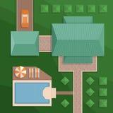 Προγραμματίστε ένα ιδιωτικό σπίτι με ένα προαύλιο, έναν χορτοτάπητα και μια λίμνη Τοπ άποψη ο Ελεύθερη απεικόνιση δικαιώματος