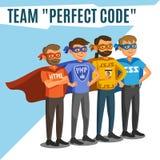 Προγραμματιστές, υπεύθυνοι για την ανάπτυξη, κωδικοποίηση διαδικασίας, ομαδική εργασία Προγραμματισμός γ απεικόνιση αποθεμάτων