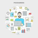 Προγραμματιστής εμβλημάτων που δημιουργεί το λογισμικό υπολογιστών στον κύκλο διανυσματική απεικόνιση