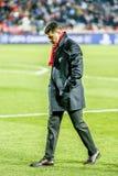 Προγύμναση Milojevic Vladan σε μια αντιστοιχία UEFA Champions League στοκ εικόνες