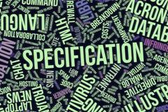 Προδιαγραφή, εννοιολογικό σύννεφο λέξης για την επιχείρηση, τεχνολογία πληροφοριών ή ΤΠ ελεύθερη απεικόνιση δικαιώματος
