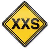 Προδιαγραφή XXS μεγέθους σημαδιών διανυσματική απεικόνιση