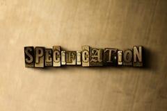 ΠΡΟΔΙΑΓΡΑΦΗ - κινηματογράφηση σε πρώτο πλάνο της βρώμικης στοιχειοθετημένης τρύγος λέξης στο σκηνικό μετάλλων διανυσματική απεικόνιση