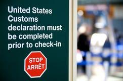 Προειδοποίηση αμερικανικού τελωνείου Στοκ φωτογραφία με δικαίωμα ελεύθερης χρήσης