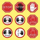 Προειδοποίηση και απαγόρευση των σημαδιών κυκλοφορίας Στάση κυκλοφορίας, κίνδυνος, προειδοποίηση Στοιχεία σε ένα απομονωμένο υπόβ ελεύθερη απεικόνιση δικαιώματος