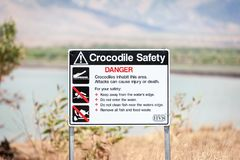 Προειδοποιητικό σημάδι κροκοδείλων στον εσωτερικό Αυστραλία στοκ εικόνα