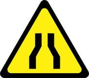 Προειδοποιητικό σημάδι με το στενό δρόμο διανυσματική απεικόνιση
