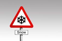 Προειδοποιητικό σημάδι χιονιού Στοκ εικόνες με δικαίωμα ελεύθερης χρήσης