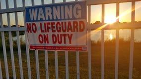 Προειδοποίηση κανενός Lifeguard στο καθήκον Στοκ φωτογραφία με δικαίωμα ελεύθερης χρήσης