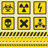 Προειδοποιητικά σημάδια, σύμβολα Άνευ ραφής ταινία Στοκ εικόνες με δικαίωμα ελεύθερης χρήσης