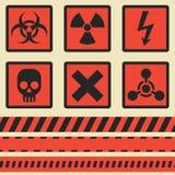 Προειδοποιητικά σημάδια, σύμβολα πολικό καθορισμένο διάνυσμα καρδιών κινούμενων σχεδίων Άνευ ραφής ταινία Στοκ εικόνα με δικαίωμα ελεύθερης χρήσης