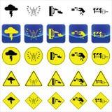 Προειδοποιητικό σημάδι για τον κλονισμό ηλεκτρικής ενέργειας από τη βροντή, πόλος υψηλής τάσης, υγρό διάνυσμα χεριών διανυσματική απεικόνιση
