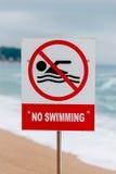Προειδοποιητικό σημάδι καμία κολύμβηση Στοκ εικόνες με δικαίωμα ελεύθερης χρήσης